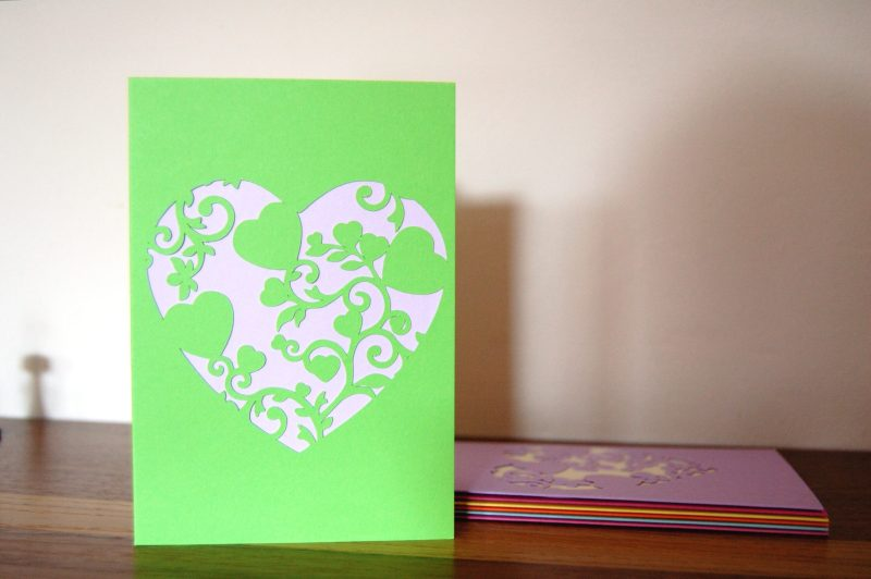 Mini Floral Vine Hearts Card in green and lilac