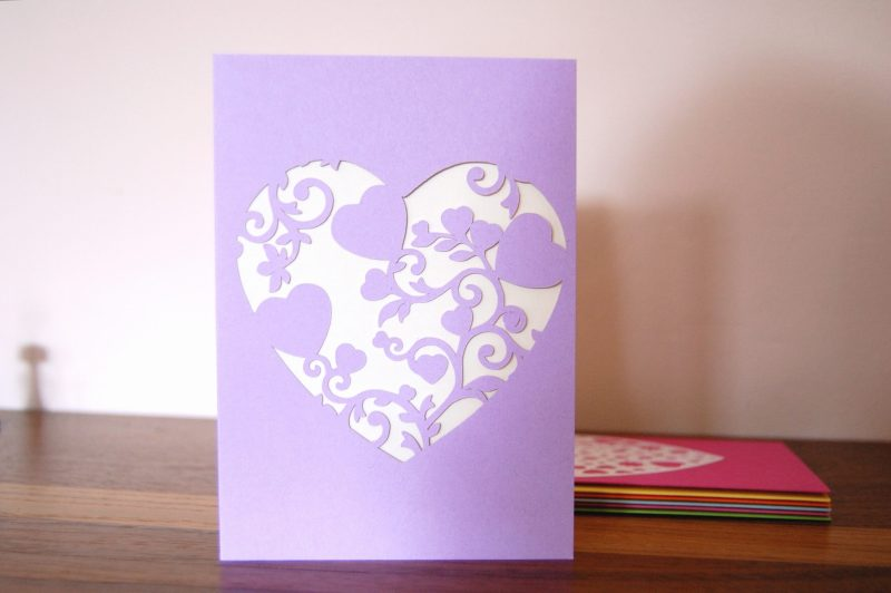 Mini Floral Vine Hearts Card in lilac and white