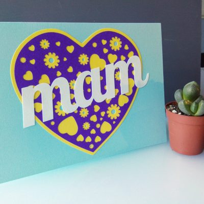 A Card for your Mam in pastel bue and purple