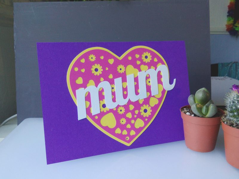 A Card for your Mam in purple and pink customised to read Mum