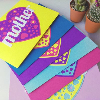Displaying the range of colours availalbe for A Card for your Mam.