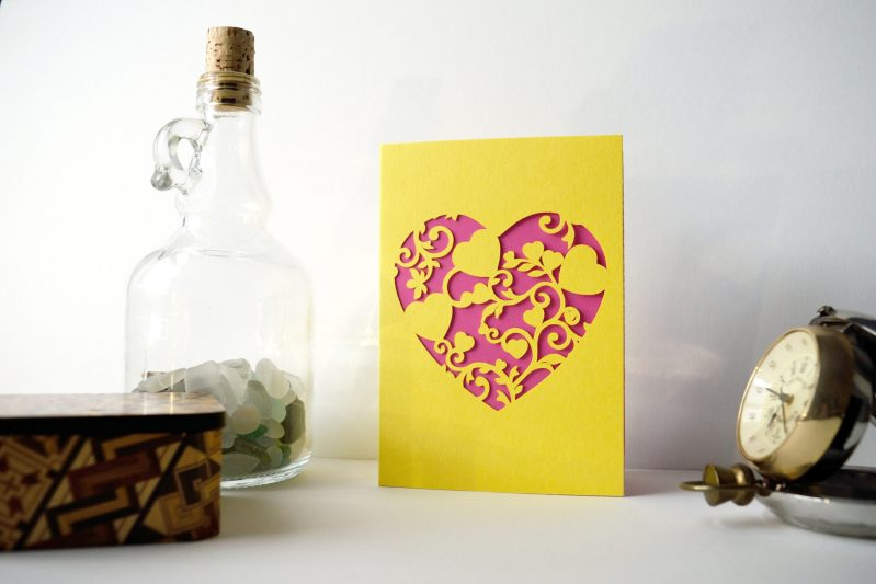 Mini Floral Vine Hearts Card in yellow and bright pink