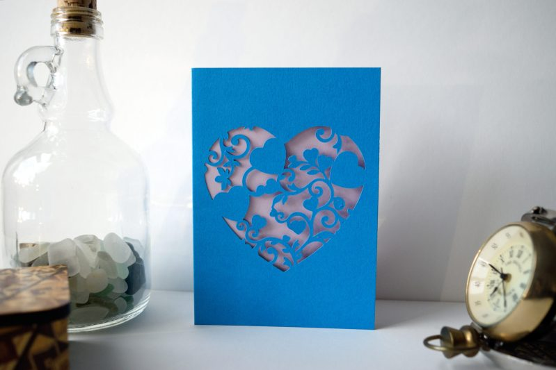 Mini Floral Vine Hearts Card in ocean blue and lilac