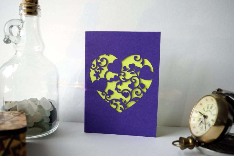 Mini Floral Vine Hearts Card in purple and yellow