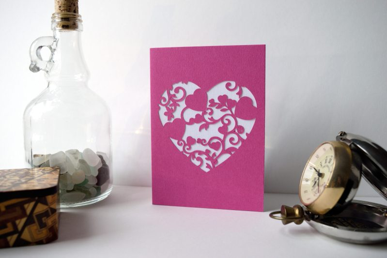 Mini Floral Vine Hearts Card in pink and white