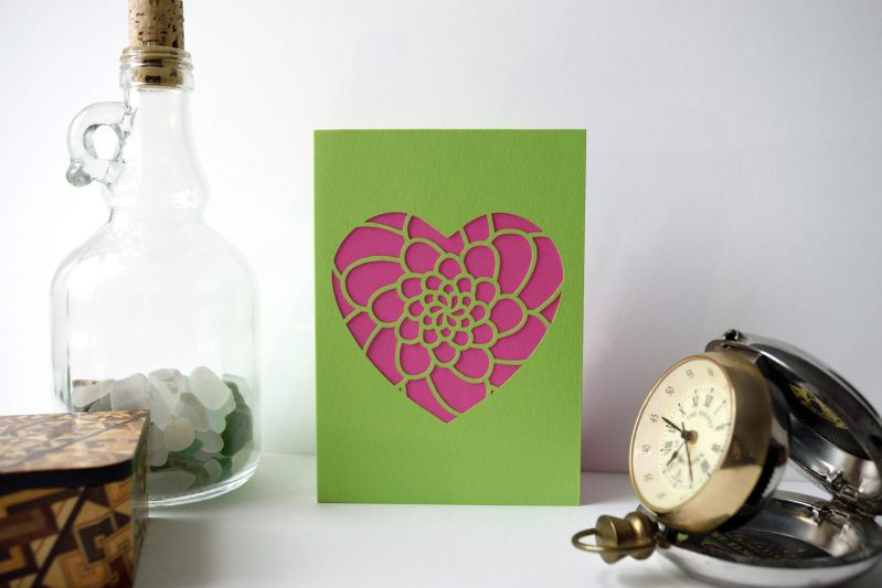 Mini Flower Heart Card in green and yellow