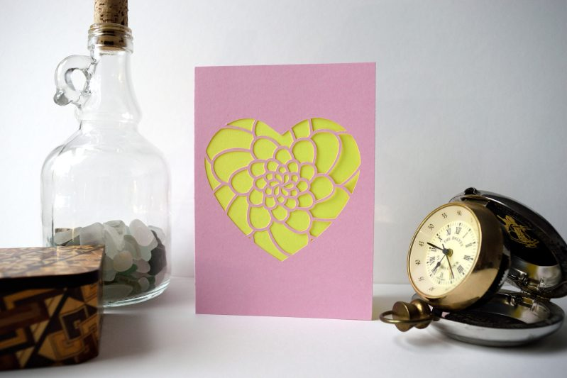 Mini Flower Heart Card in pastel pink and yellow