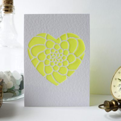 Mini Flower Heart Card in white and yellow.