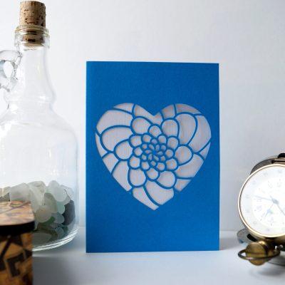 Mini Flower Heart Card in ocean blue and white