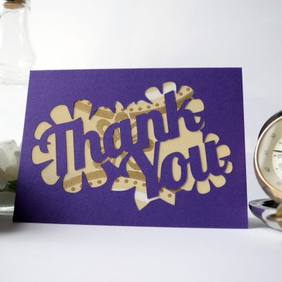 Thank You card in purple with tan patterned paper.