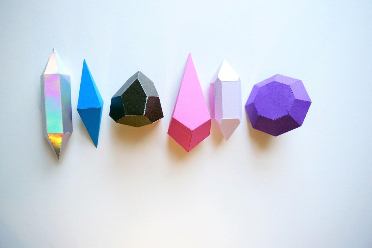 Crystal shapes Activity Kit assembled shapes