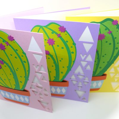 Cactus Cards in lilac, yellow and pink