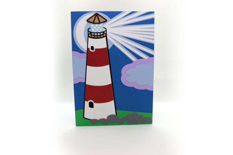Lighthouse Greetings Card pictured from the front.
