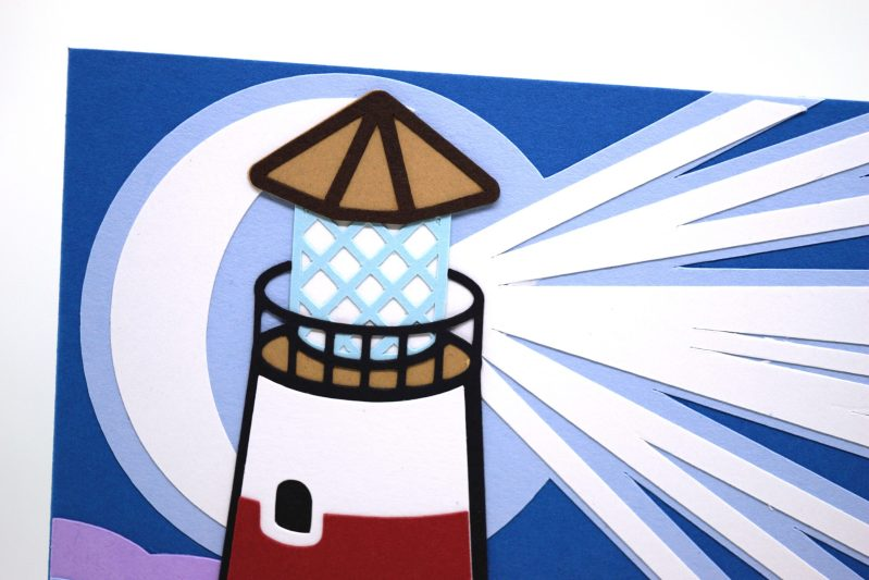 Lighthouse Greetings Card, close up for detail on the moon and light beams..