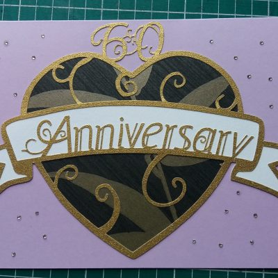 Layered paper cut Art Nouveau Congratulations Card in lilac with a black patterned heart. This example was a custom commision for a 50th Anniversary so reads Anniversary instead of Congratulations.