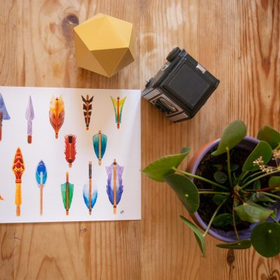 A print of the Arrows watercolour artwork next to a paper icosahedron, camera and plant.