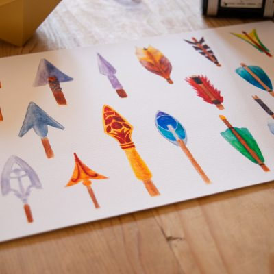 A print of the Arrows watercolour artwork showing detail.