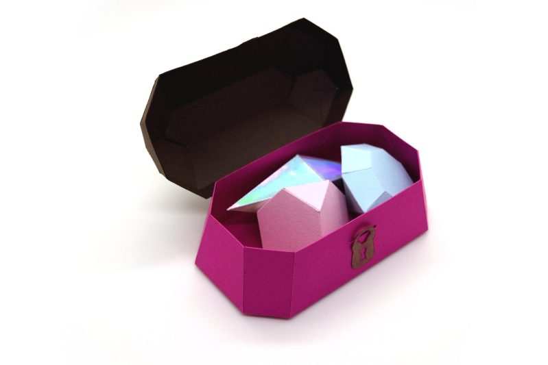 Treasure Chest in brown and pink, open to demonstrate presentation.