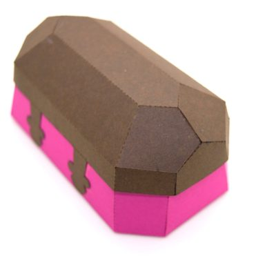 Treasure Chest in brown and pink, from the back.