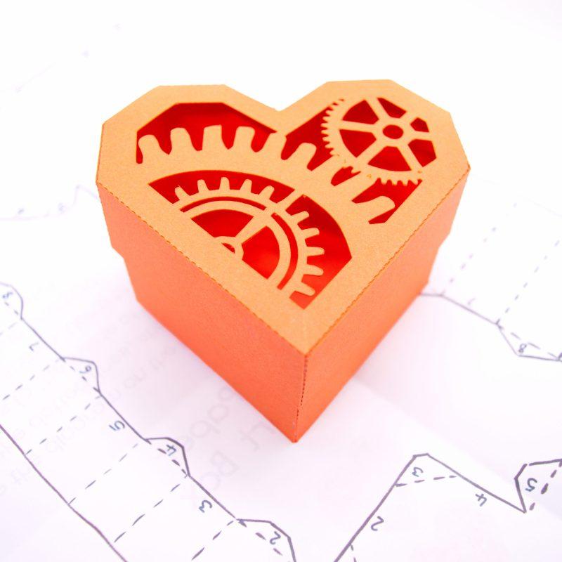 Heart Gift Box, orange cogs design