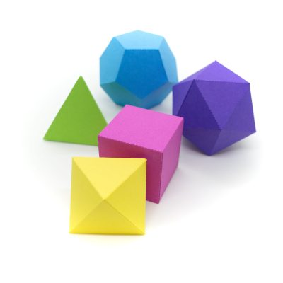 Platonic Solids colourful 3d paper activity kit