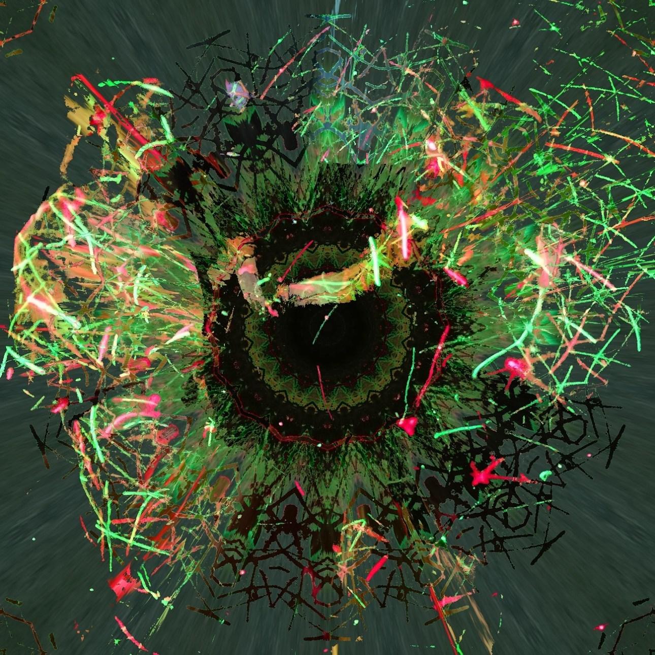 Kalidoscopic Green Eye Explosion glitch art