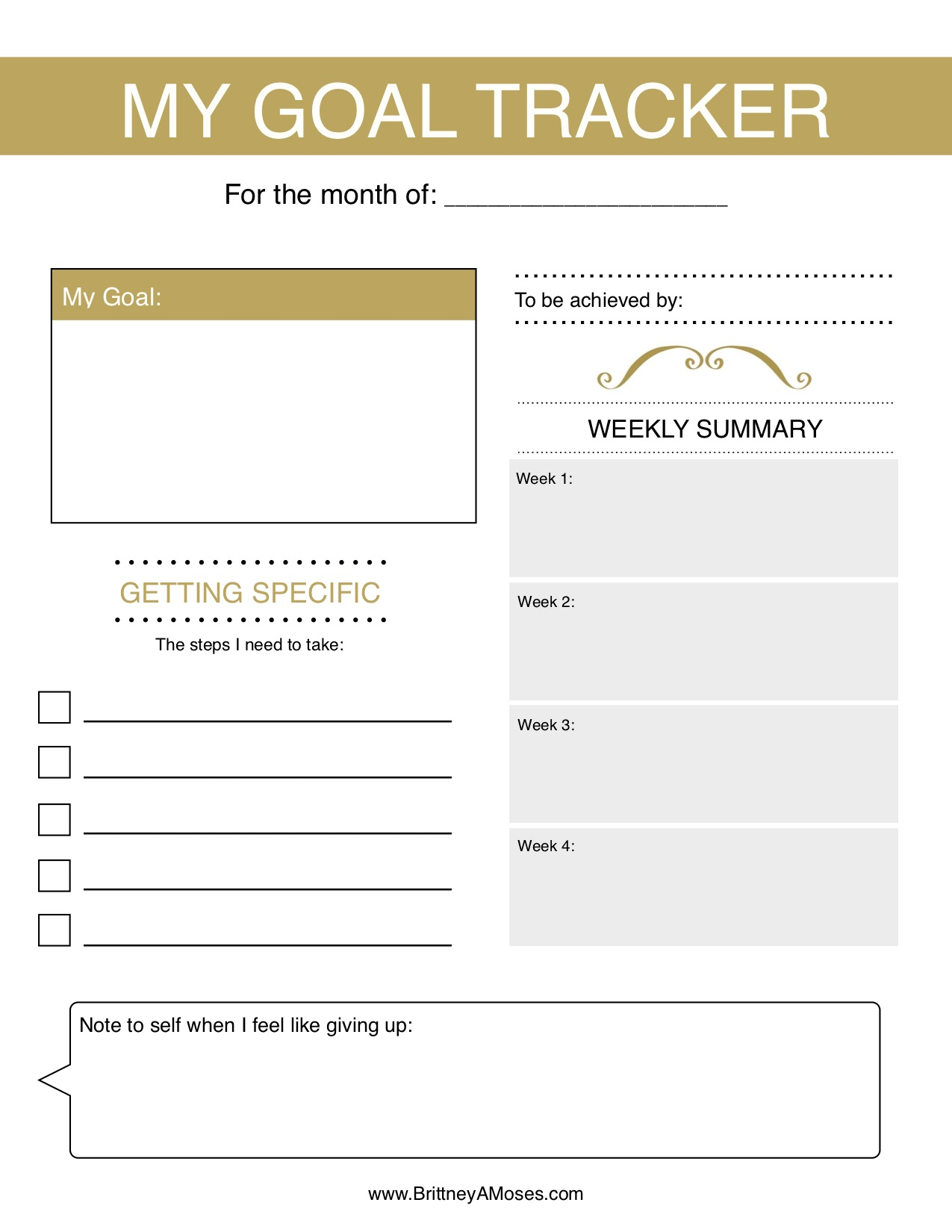Printable Monthly Goal Tracker