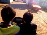 Two young boys drove us on the back of a wagon