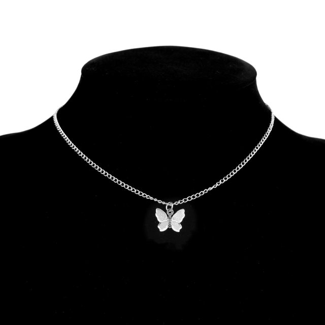 Gold Chain Butterfly Pendant Choker for Women