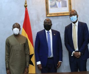MTN WECA VP- Ebenezer Asante & GROUP CEO Ralph Mupita pose with HE DR. Mahamudu Bawumia