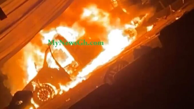BREAKING NEWS: Vehicle Goes Up in Flames As NPP Sammi Awuku, Others Involved In Another Accident -[SEE PHOTOS]