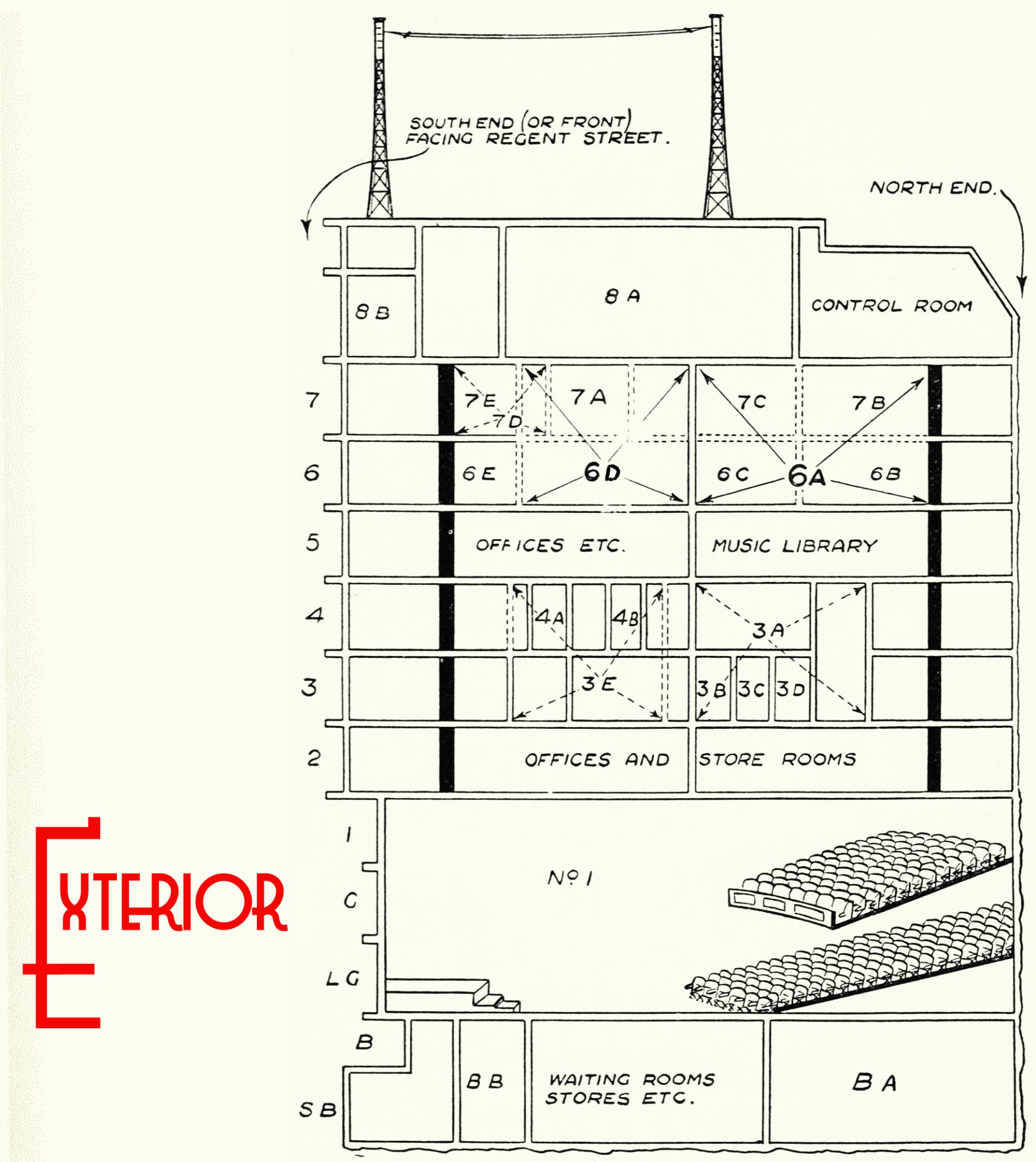 Cutaway plan of the building