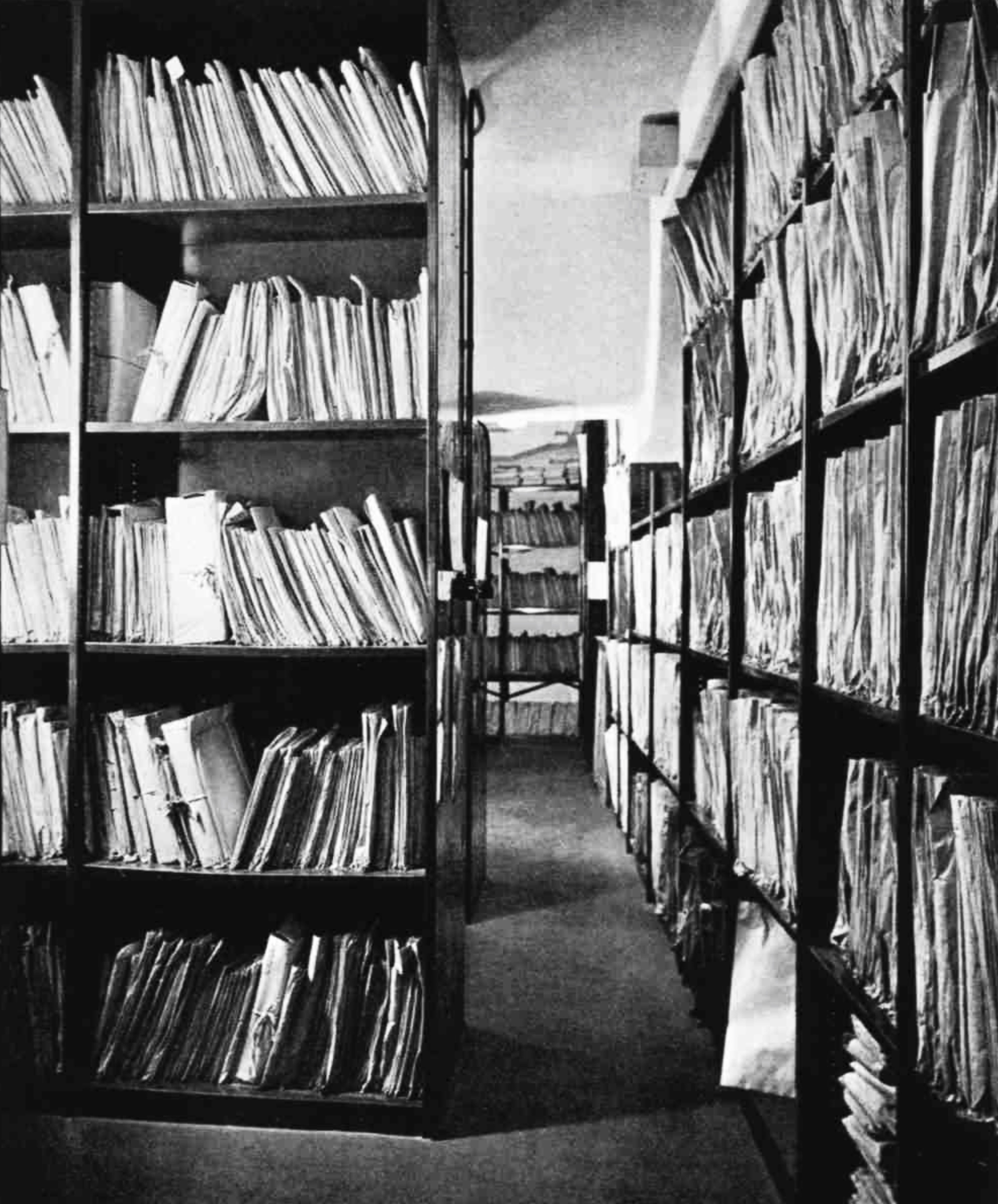 Shelves filled with gramophone records and sheet music