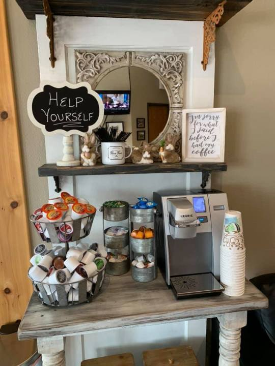 Make yourself at home in our comfortable waiting area, and help yourself to a hot cup of coffee, tea or hot chocolate at our complimentary coffee bar!
