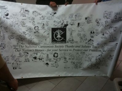 National Cartoonists Society banner at Walter Reed