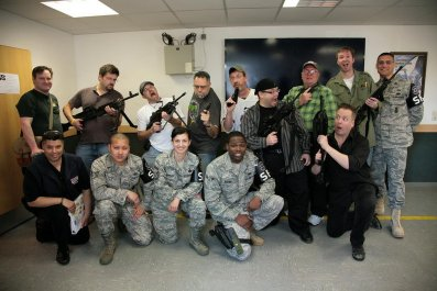 Cartoonists with Ramstein Military Police
