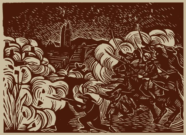 Engraving by Francisco Mora. In José María Morelos, el Siervo de la Nación, 1957, Sociedad de Amigos del Libro Mexicano.