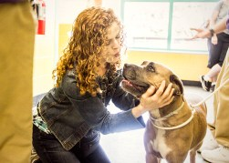 Bernadette Peters visits with Francesca. Many animals found in shelters were family pets and have already been socialized and housetrained. Some even have special training or know some tricks and will adjust to a new home quickly. Photo Credit: Matt Liptak