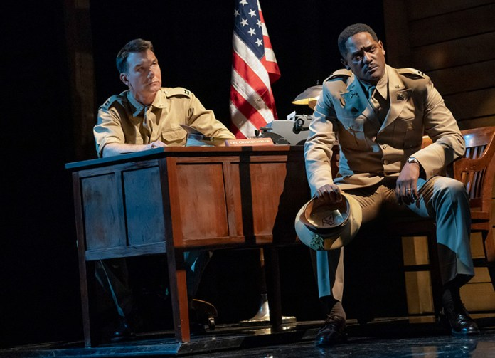 Jerry O'Connell and Blair Underwood in <i>A Soldier's Play</i>. Photo by Joan Marcus.