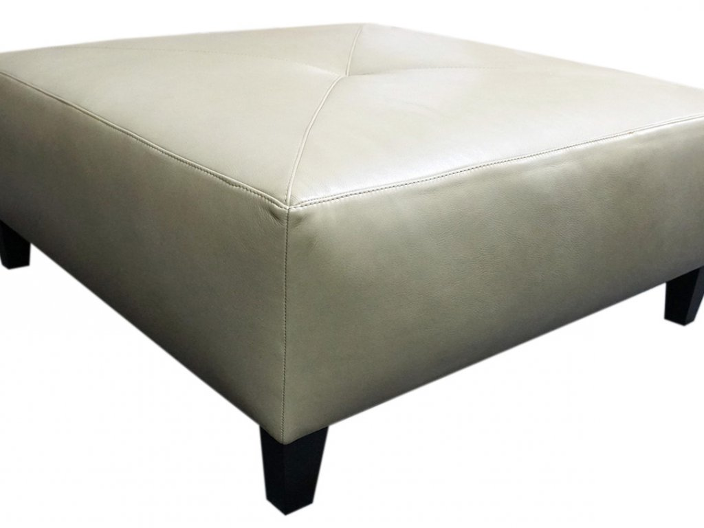 large square leather ottoman by