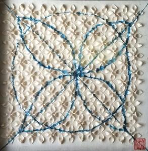 """Hiromi Ashlin, """"Four Leaf Clover"""", Origami on Panel, 11"""" x 11"""""""
