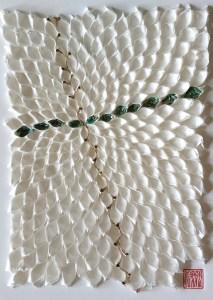 """Hiromi Ashlin, """"Juji (Cross)"""", Origami on Panel, 14"""" x 10"""""""