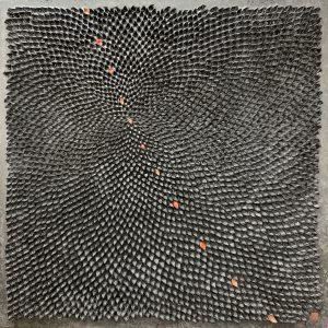 Hiromi Ashlin Mudai Untitled Black 3 39x39 Origami on Panel