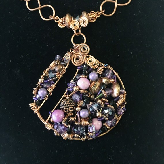Sue Broadway - 2 inch Purple Signature Pendant, Mixed Beads with Copper Wire