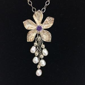 Sue Broadway - Silver Clay Floral Pearl Drop Pendant