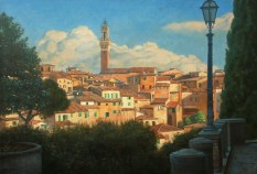 Bradley Stevens - Approach to Siena, 30x44, Oil on Linen