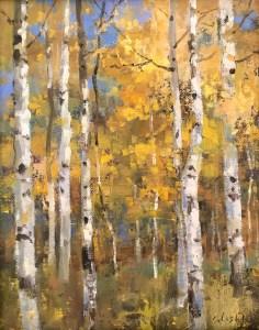 """""""Aspens"""", 10"""" x 8"""", Oil on Canvas"""