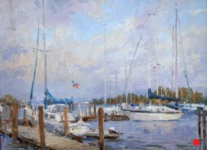 Christine Lashley Boat Chimes at Noon 11x12 Oilon Panel