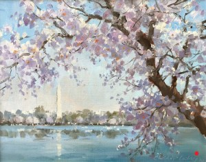 Christine Lashley Cherries Peak Bloom Oil on Panel 11 x 14 1600 SOLD