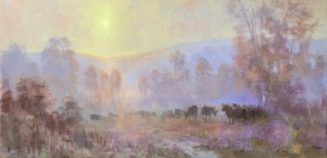 """""""Cows in the Mist"""", 10"""" x 20"""", Oil on Canvas"""